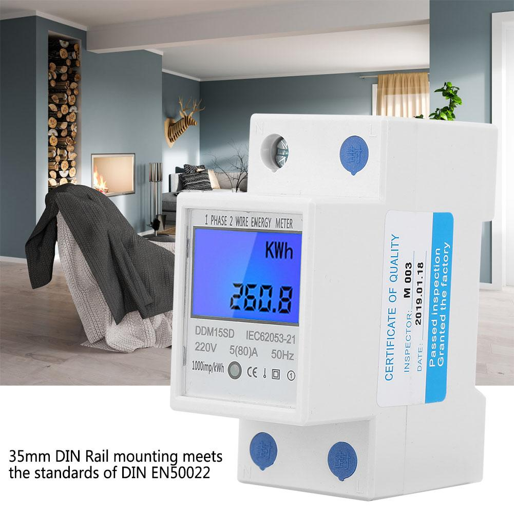 DDM15SD Digital Energy Meter LCD Backlight Digital Display Single Phase Electronic Energy KWh Meter 580A