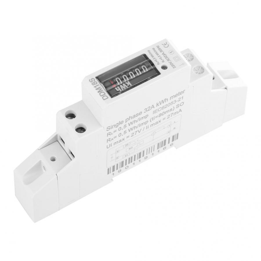 DDM18S Single Phase 1P Din Rail E220V DDM18S Single Phase 1P electricity Power Energy Meter 530A Digital Display