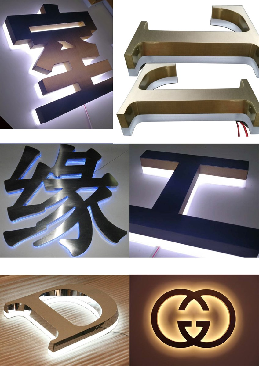 Outdoor Advertising LED Sign Back Light Letter 3D Acrylic Signage Metal Logo Signs Backlit Letter Signage