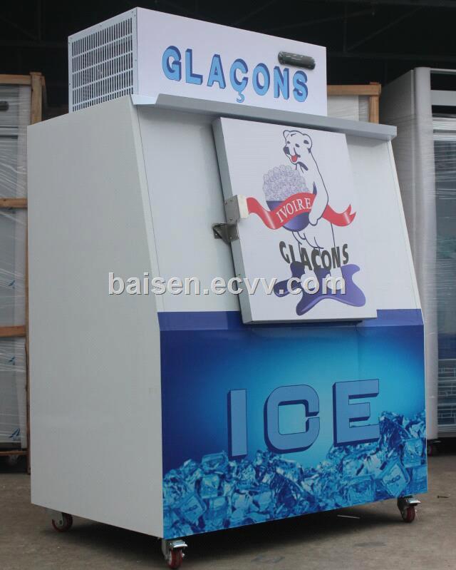 BC 380 model single Slant door Gas station outdoor Bagged ice storage bin freezer