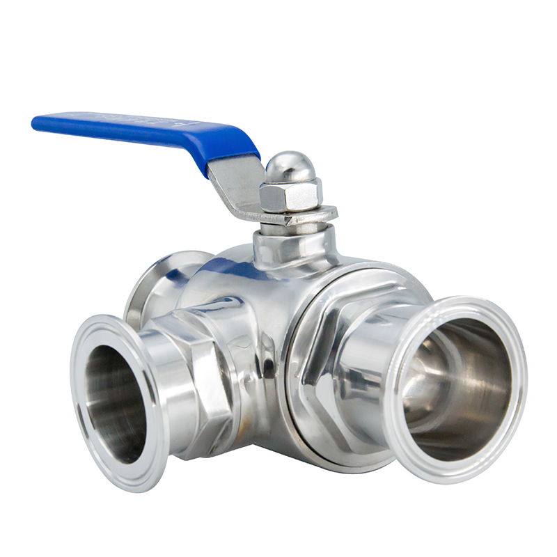 SMS 1016mm Food Grade Stainless Steel Three Ways Ball Valves with Triclover Ends