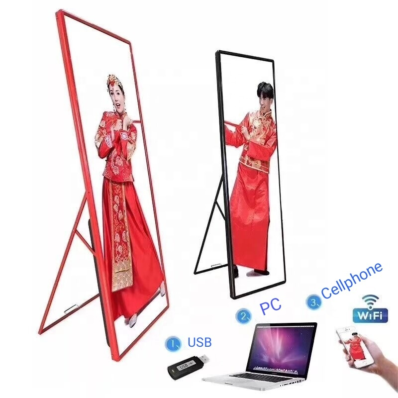 Hot selling p25 floor standing LED display WiFi USB indoor LED poster