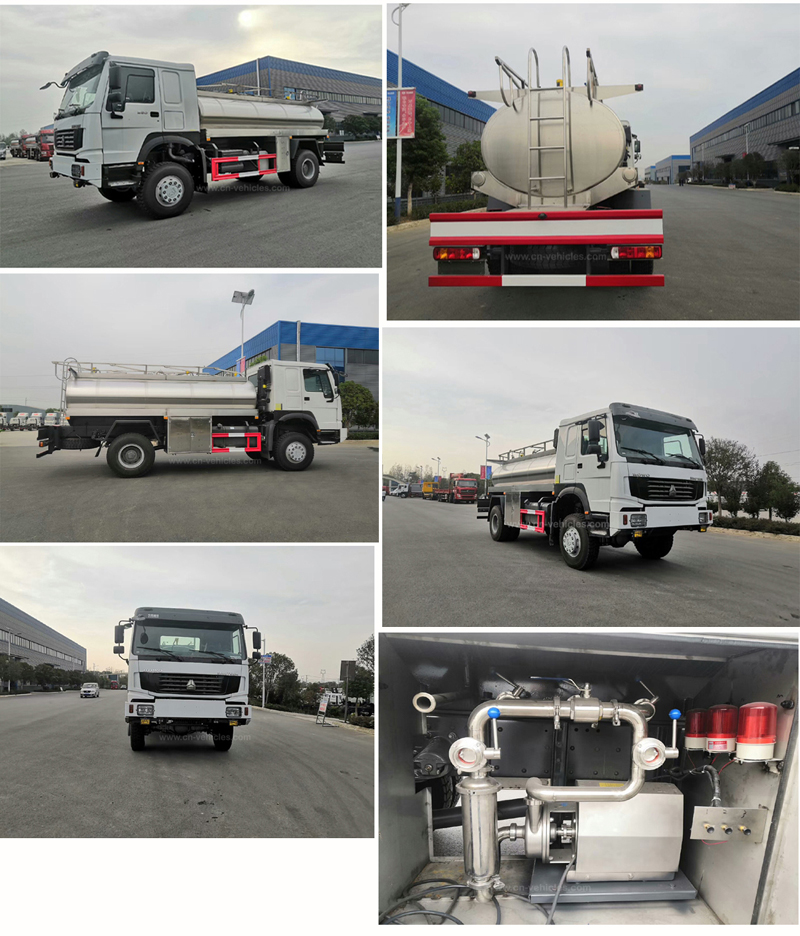 Sinotruck howo 290hp 6 Cbm 6000 Liters 3042B Food trade Stainless Steel Milk Tanker Truck With Alarm Level Gauge