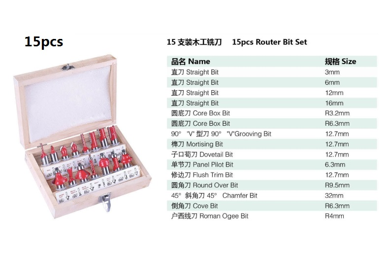 15pcs Carbide Wood Router Set Woodworking Cutter Trimming Knife Forming Milling Pack In Wood Case 14 635mm Shank