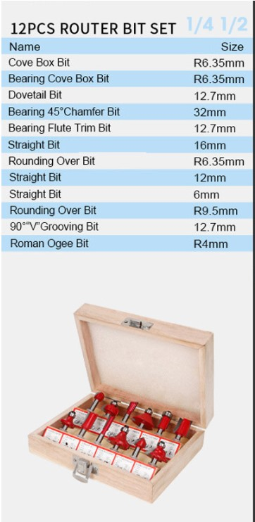 12pcs In Wooden Box Woodworking Milling Cutters Set Shank Carbide Router Bit Cutting Tools 12 14