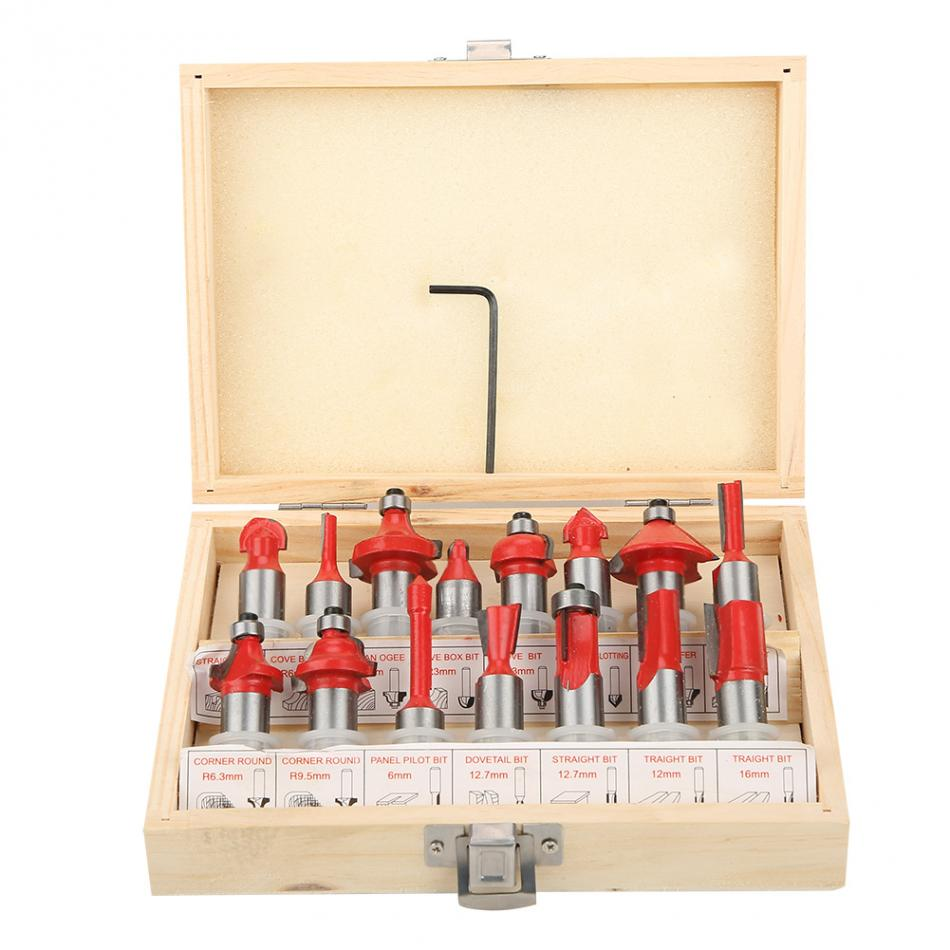 15pcs Woodworking Cutter Set in Wood Case Box 12 12127mm Shank RouterBit WoodworkingTools MillingCutter