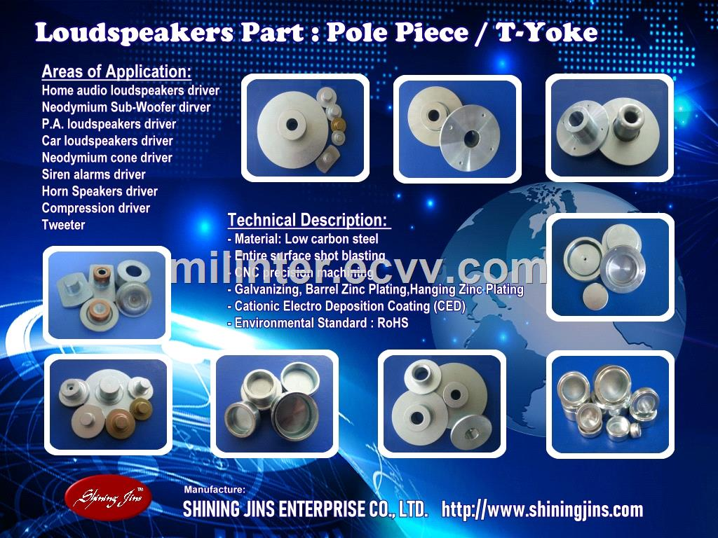 Speaker Parts Tweeter TYoke Pole Piece and Washer Top Plate CNC Machining Parts