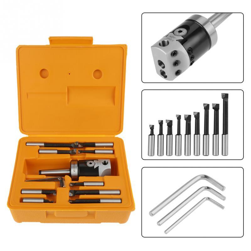 MT3F11 2 9pcs Morse MT3 Handle F1 Boring Head Tool Set Carbide Boring Bar With Shank Mill