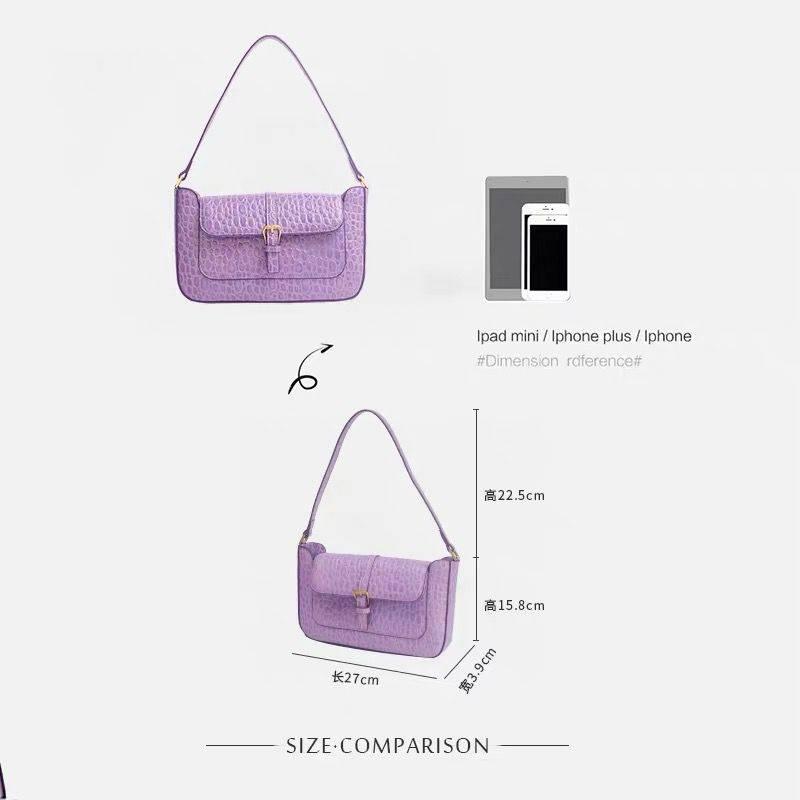 Purple handbag with fashionable stone pattern