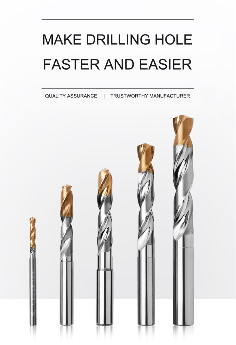 wtftools 3D 2 flutes tungsten carbide twist drill bits with high precision