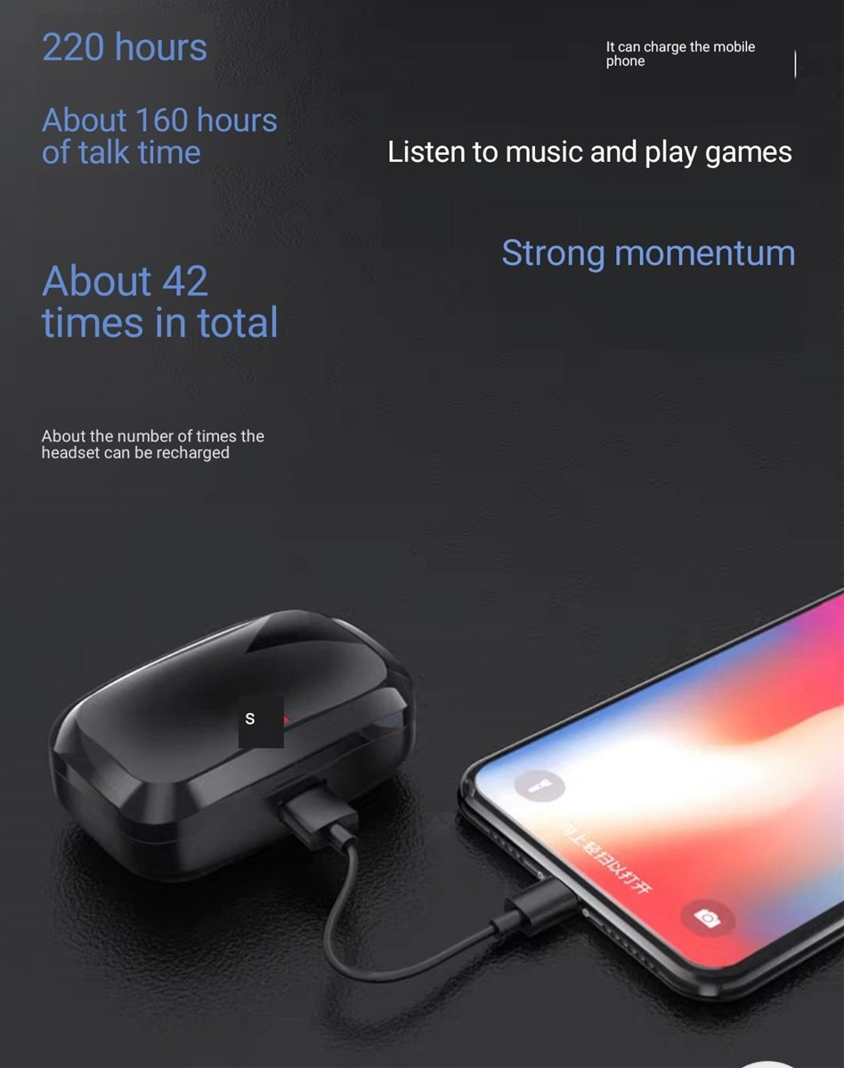 True wireless bluetooth headset double ear extra long standby sports running listening to music inear earbuds