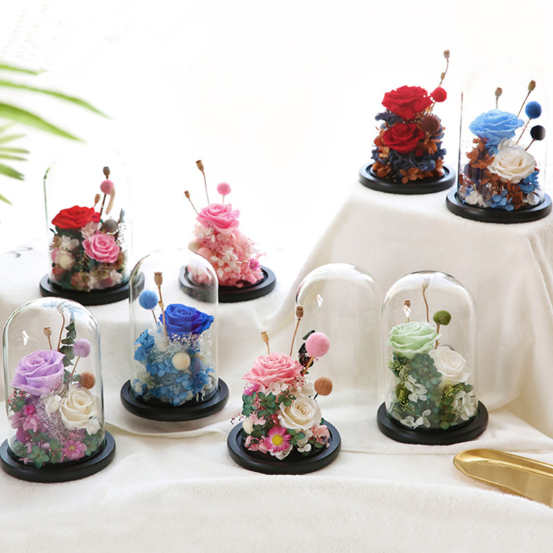 Black Base Glass Dome Vase Home Decoration Creative Glass Cover Wedding Favor Gift