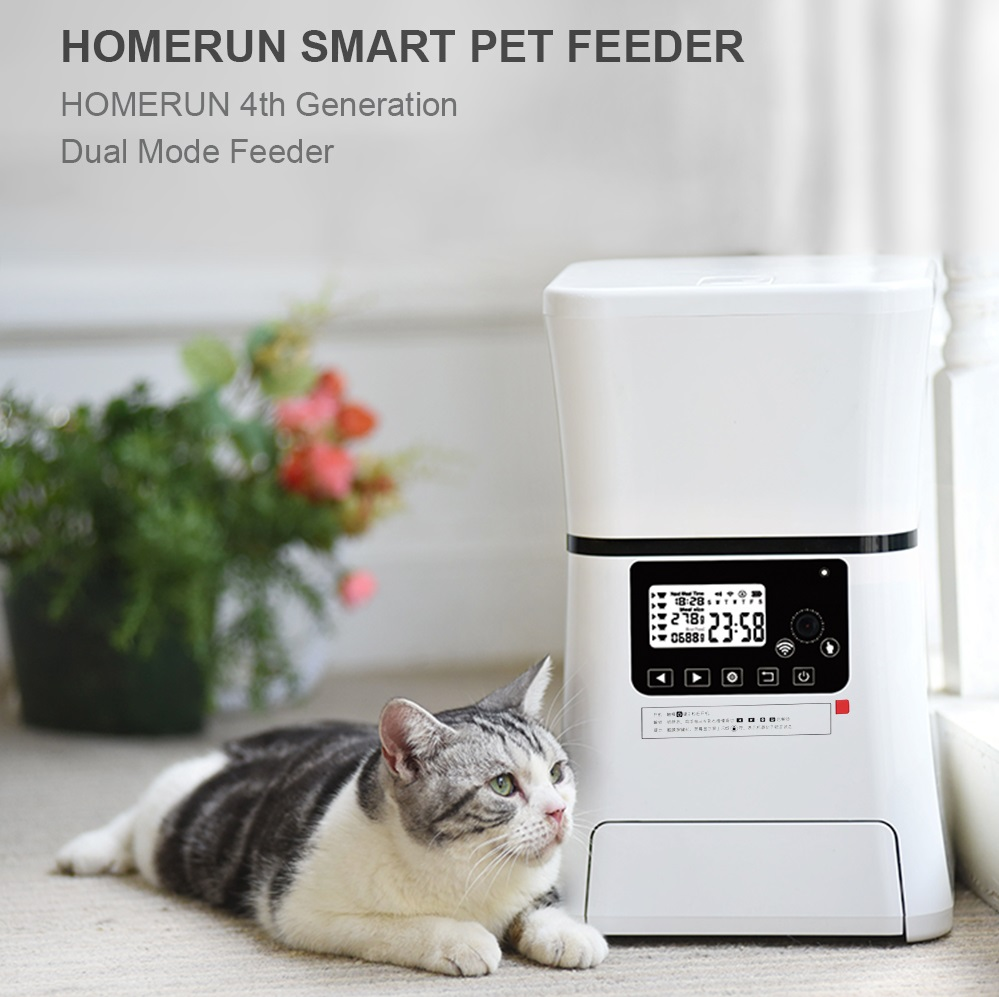 Homerun Smart Automatic Pet Feeder With Bluetooth WiFi APP Remote Control CE FCC for Dogs Cats