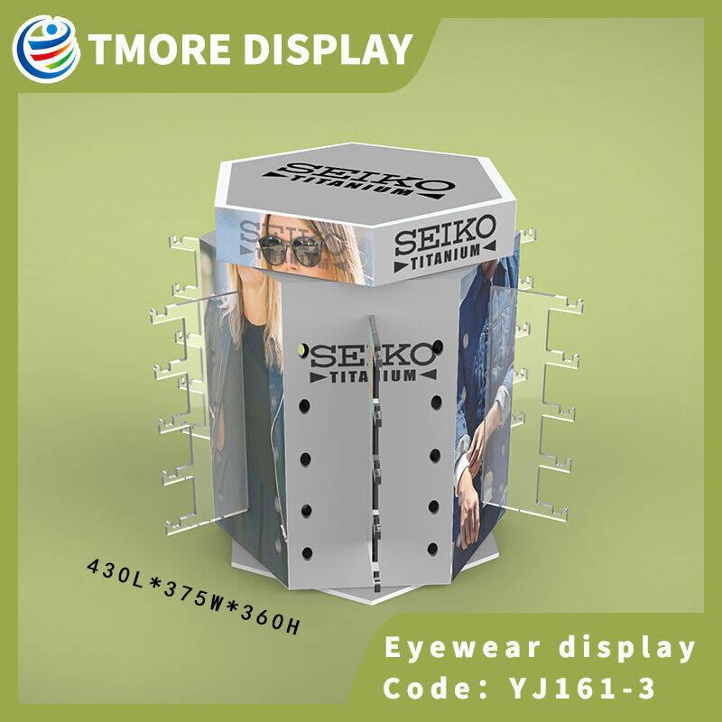 Rotating eyewear sunglasses display rack