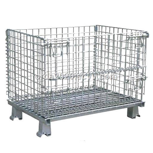 Heavy duty foldable wire mesh container with 1500kg loading capacity