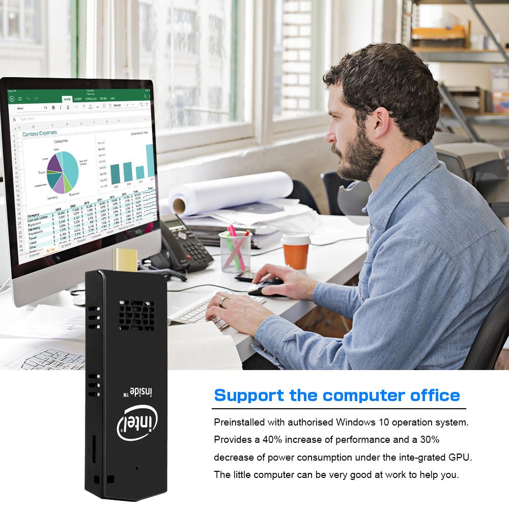 portable mini pc z8350 quadcore win10 4GB RAM 64GB EMMC USB30 mini pc stick office computer household education entert