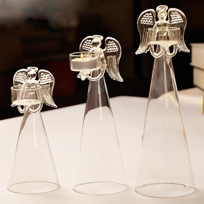 Transparent Glass Angel Candle Holder Home Decoration Wedding Favor Gift Angel Friend Gift