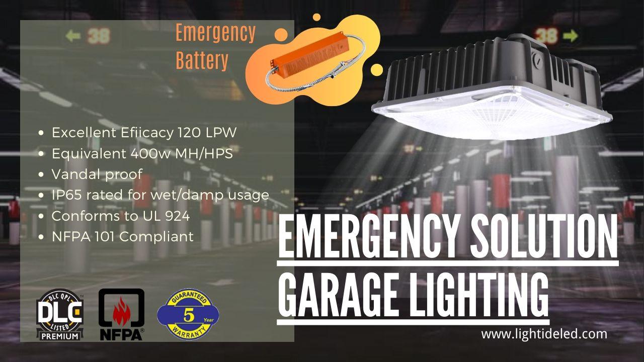 Lightide VandalProof LED Garage Lights Emergency Battery Backup 90W and 5 years warranty
