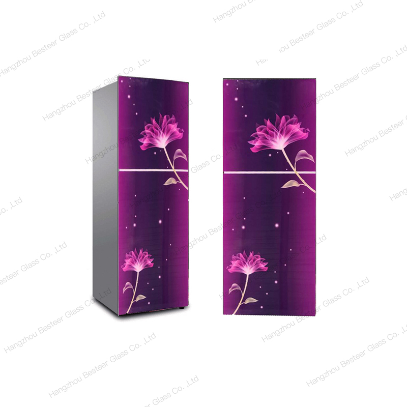 Color printing crystal tempered glass refrigerator door panel