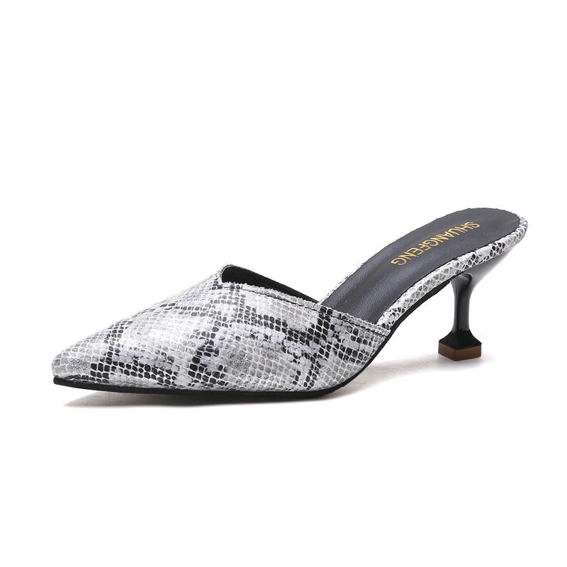 Elegant Wineglass Sandal Slippers with Snake Skin Style