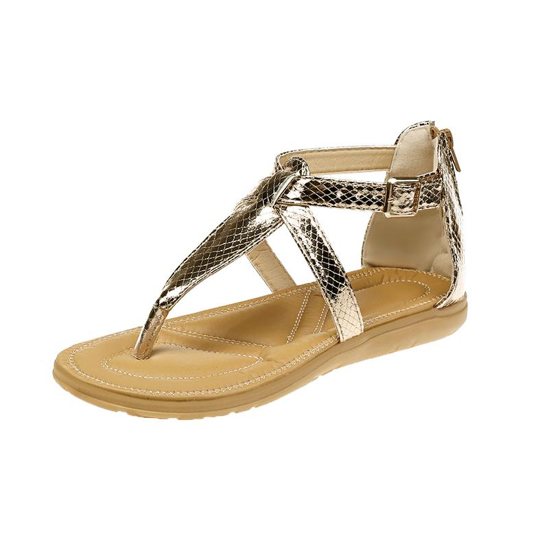 Leopard Snake Skin Style Flip Flop Slipper Sandals with metal buckles