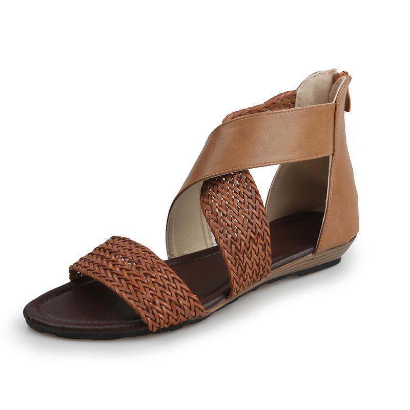 X Bridge Style Summer Sandals with Knitting craftwork