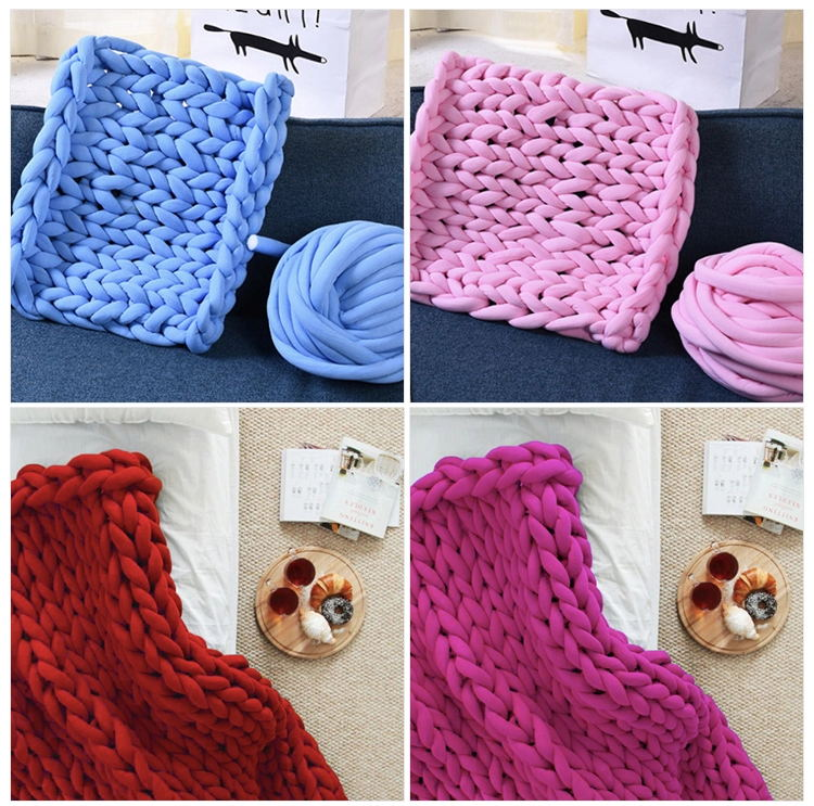 Amazon Hot Sale Cheap Low Moq Handmade Icelandic Pink Color Chunky Knit Wool Blanket