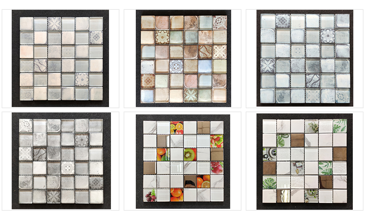 8mm White Glass Inkjet Printing Wall and Floor Customized Effect Glossy Matt Surface Mosaic tiles