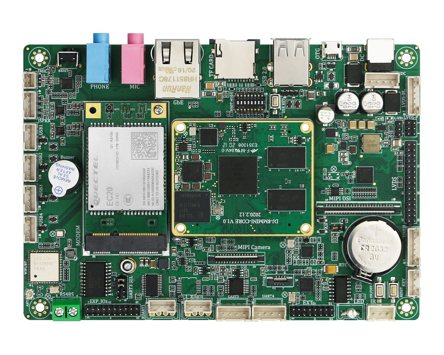 NXP iMX8M Industrial Motherboard onboard 2GB DDR4 16GB eMMC with 6USB 5UART 15GPIO and WiFiBT