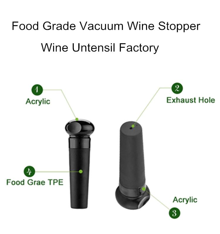 Custom Logo ABS Silicone Black Vaccum Wine Stopper Vacuum