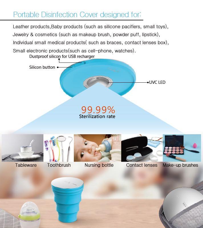LED UVC Sterilization Cup9999 disinfection rateIP65 gradeUSB chargingPortable design360D coverage for sterilize t