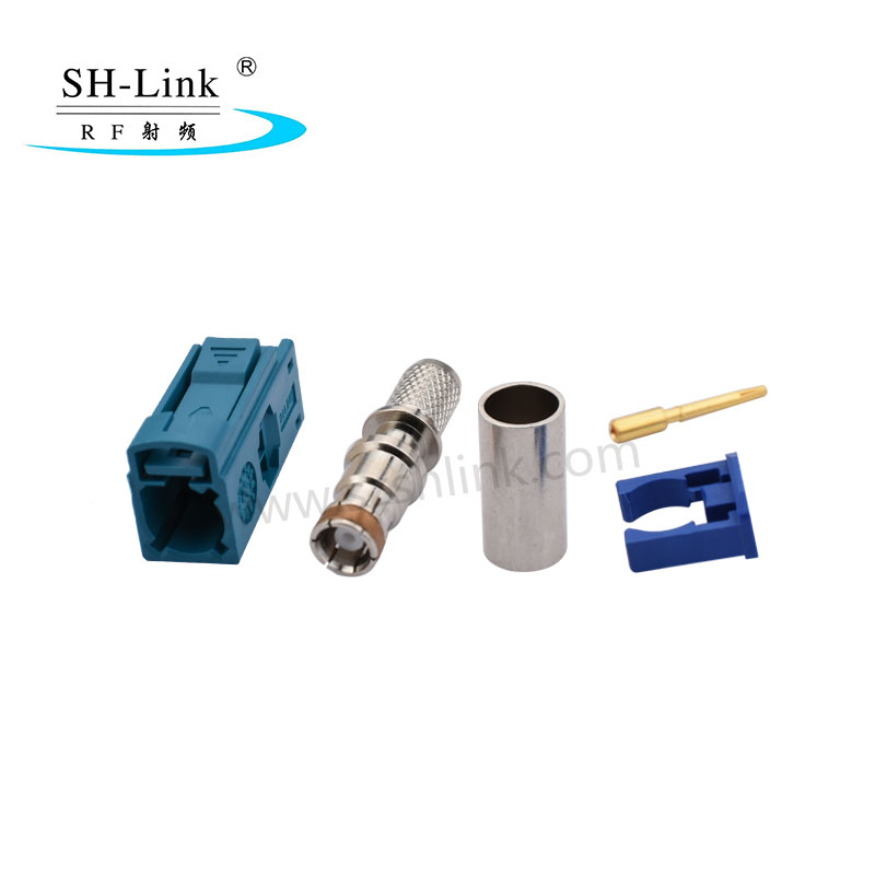 Fakra Z Crimp Jack Female Connector Waterblue for RG174 RG316 Cable