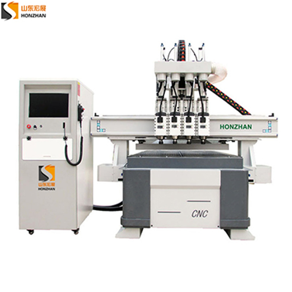 honzhan New HZR1325F Four heads pneumatic woodworking cnc router cutting machine for wood panel door furniture