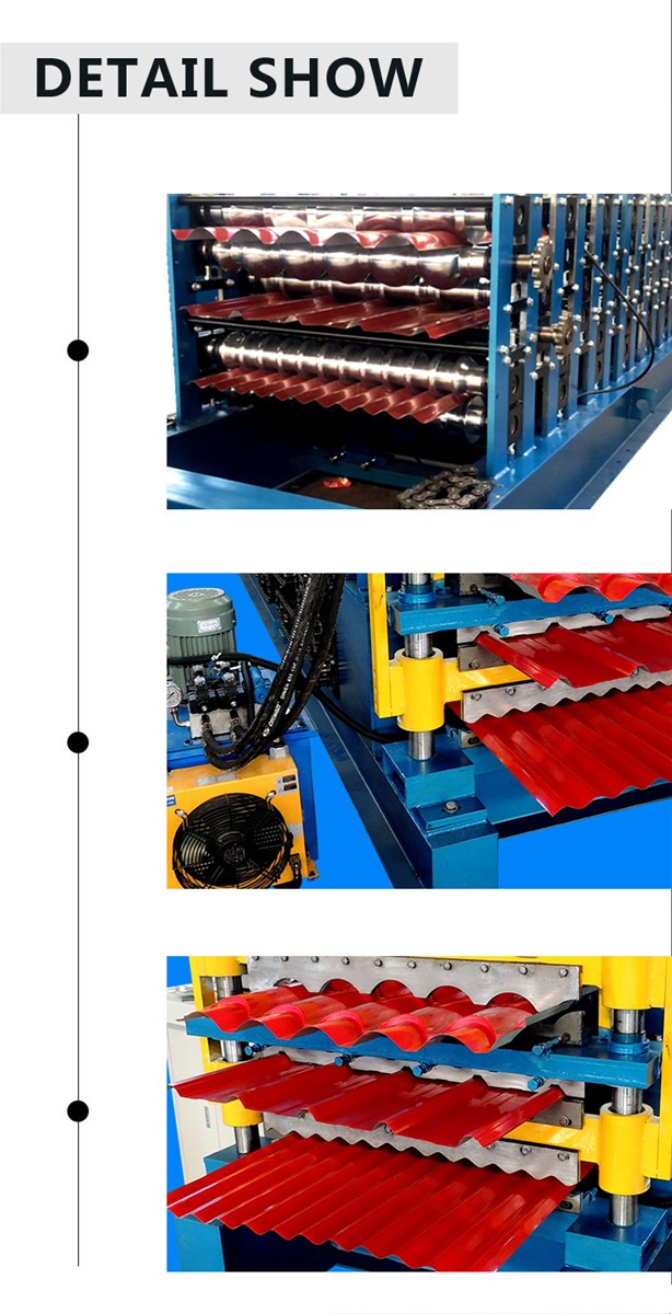 Color Steel Three Layer Roll Forming Machine rollformers Metal Roofing Corrugated Steel Sheet Wall Panel tile making mac