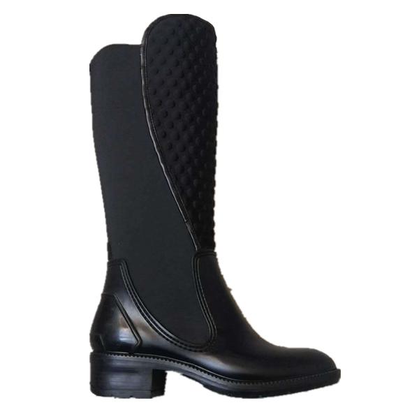 Black Tall Fashion PVC Rain Footwear rain boots for Ladies
