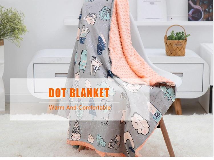 Ready to Ship 10080cm 158110cm Washable Super Cozy Pacify Throw Cotton Cartoon Baby Minky Dot Blanket