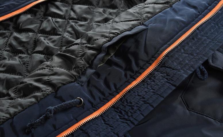 Mens midlength cotton jacket oversized fur collar cotton coat