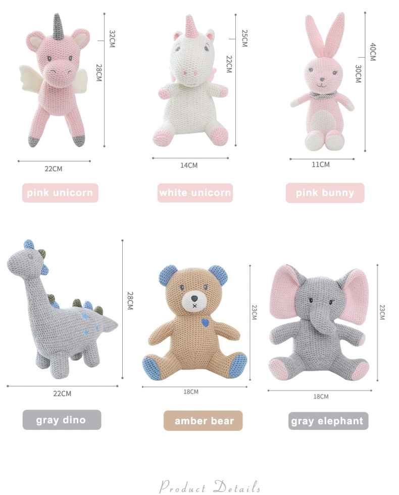 Baby Sleep Toy Knitted Stuffed Animals Plush Knitted Bunny Elephant Dinosaur Unicorn Bear Toy For Toddlers
