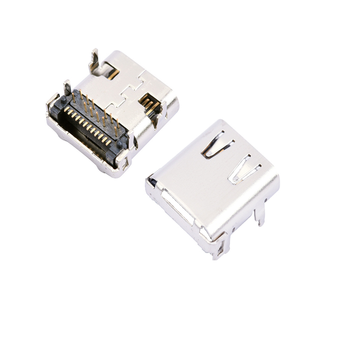 USB 31 TypeC Connector 24 Pin Receptacle Right Angle Type C PCB SMT Dual Row Tab Female Socket Support Terminal 3A