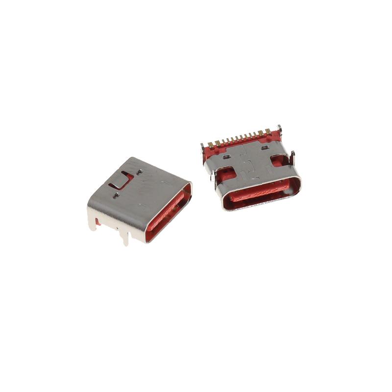 USB C Connector 16P DIP Flat Edge 20V 5A Micro USB Connectors Female Port Jack Plug Socket Electric Terminals