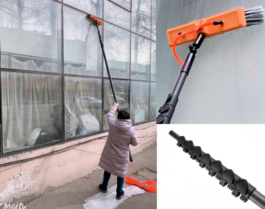 XN 100 Carbon Fiber Washing Window Cleaning Pole water fed pole 8 sections 54ft 165 MTR