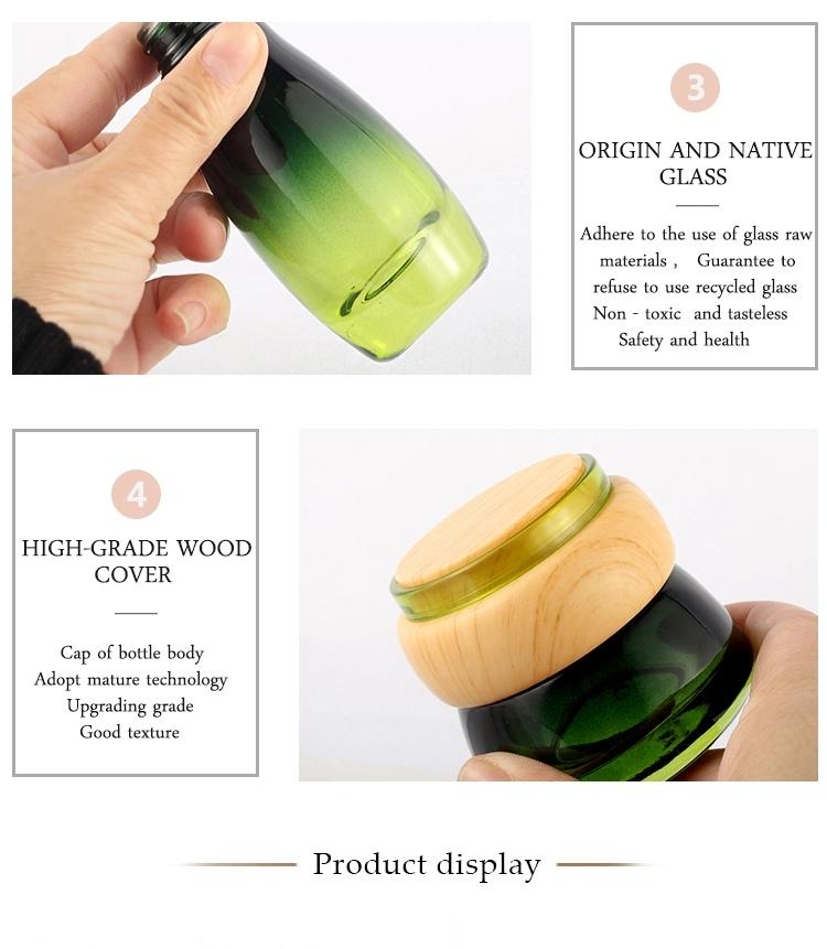 Fashionable 30G 50G Green Whole Set Cosmetics Packaging Bottle Jar