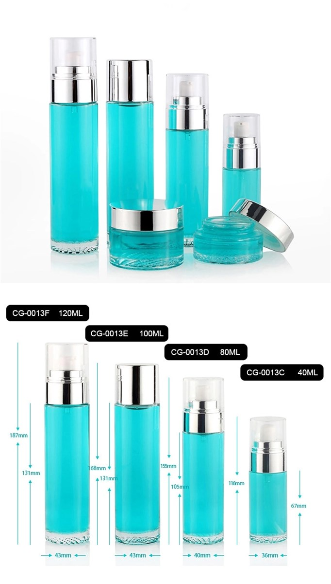 Fashionable 120Ml 80Ml Green Round Cosmetic Bottle and Lotion Jar Set