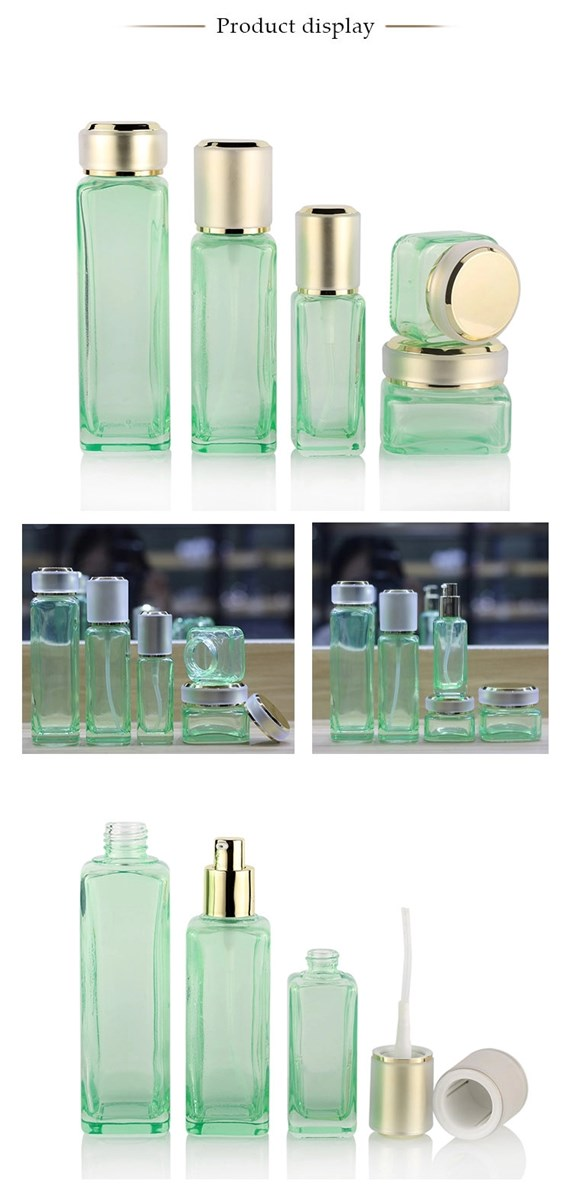 Popular Square Lotion Bottles Skin Care Containers Sets Glass Cosmetic Bottle Set