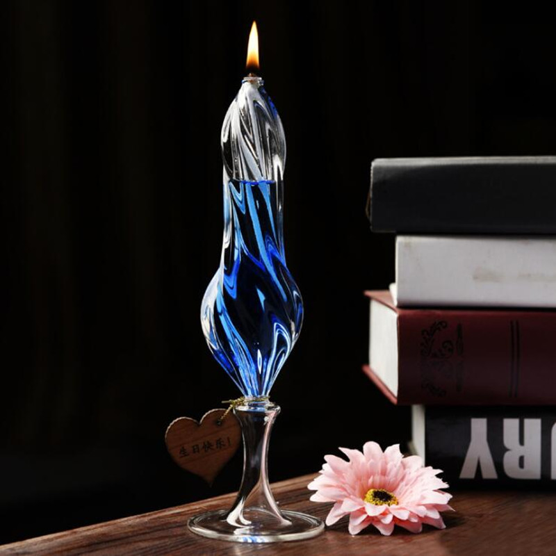 Transparent Glass Oil Lamp Decorative Stripped Glass Table Lamp