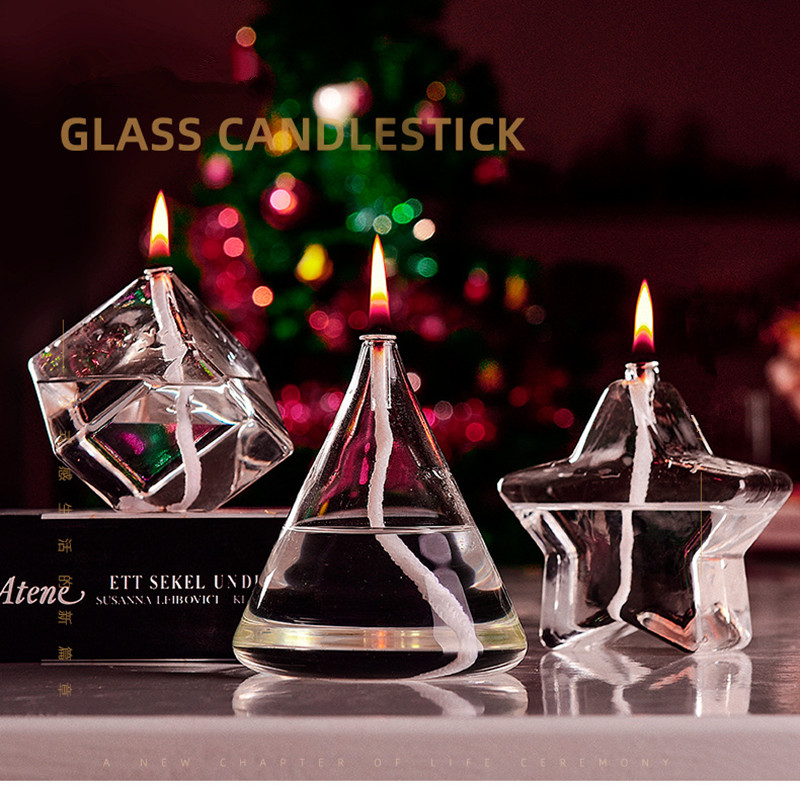 Different the Geometric Shaped Glass Oil Lamp Wedding Gift Decoration Table Lamp
