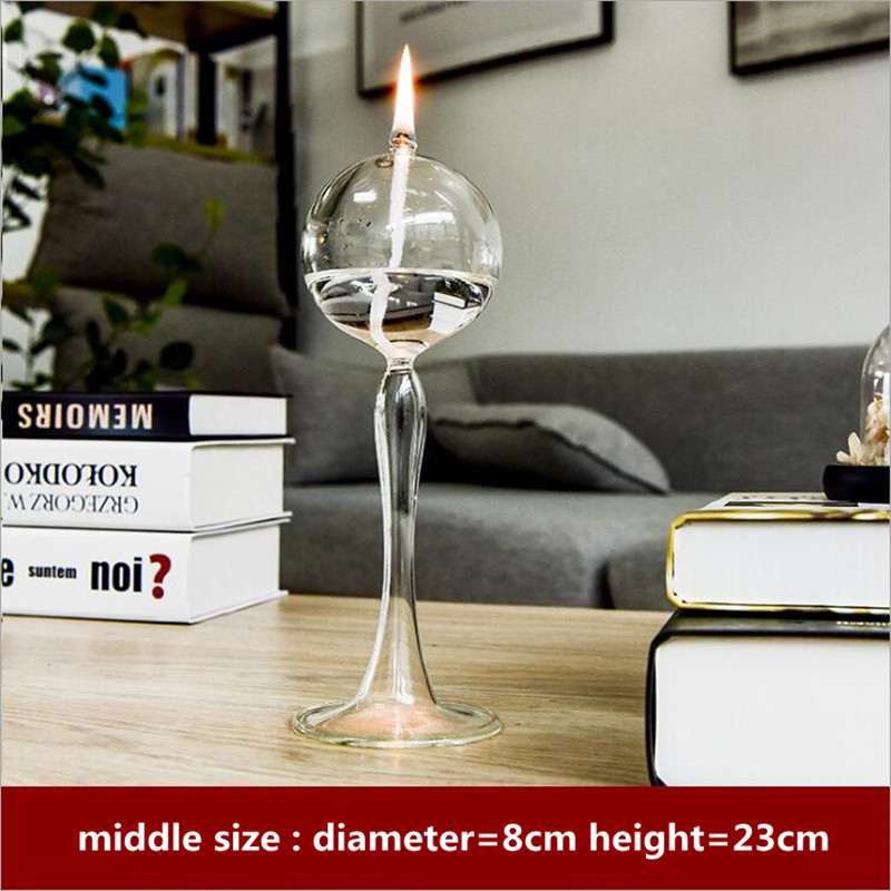 Transparent Glass Oil Lamp Diameter8cm Height21cm 23cm 25cm Different Height Table Lamp Decorative