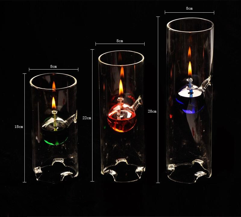 Transparent Glass Oil Lamp Wedding Gift Cylinder Shaped Glass Lamp Decoration Diameter8cm Three different Height