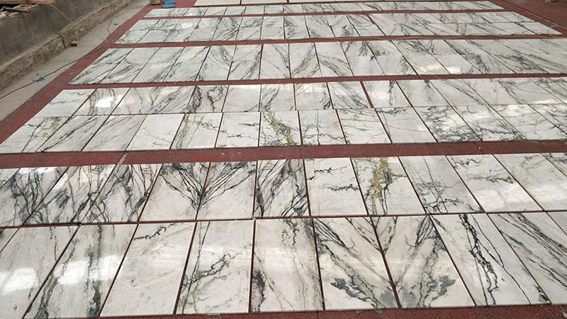polished irish calacatta white marble tiles with green vein