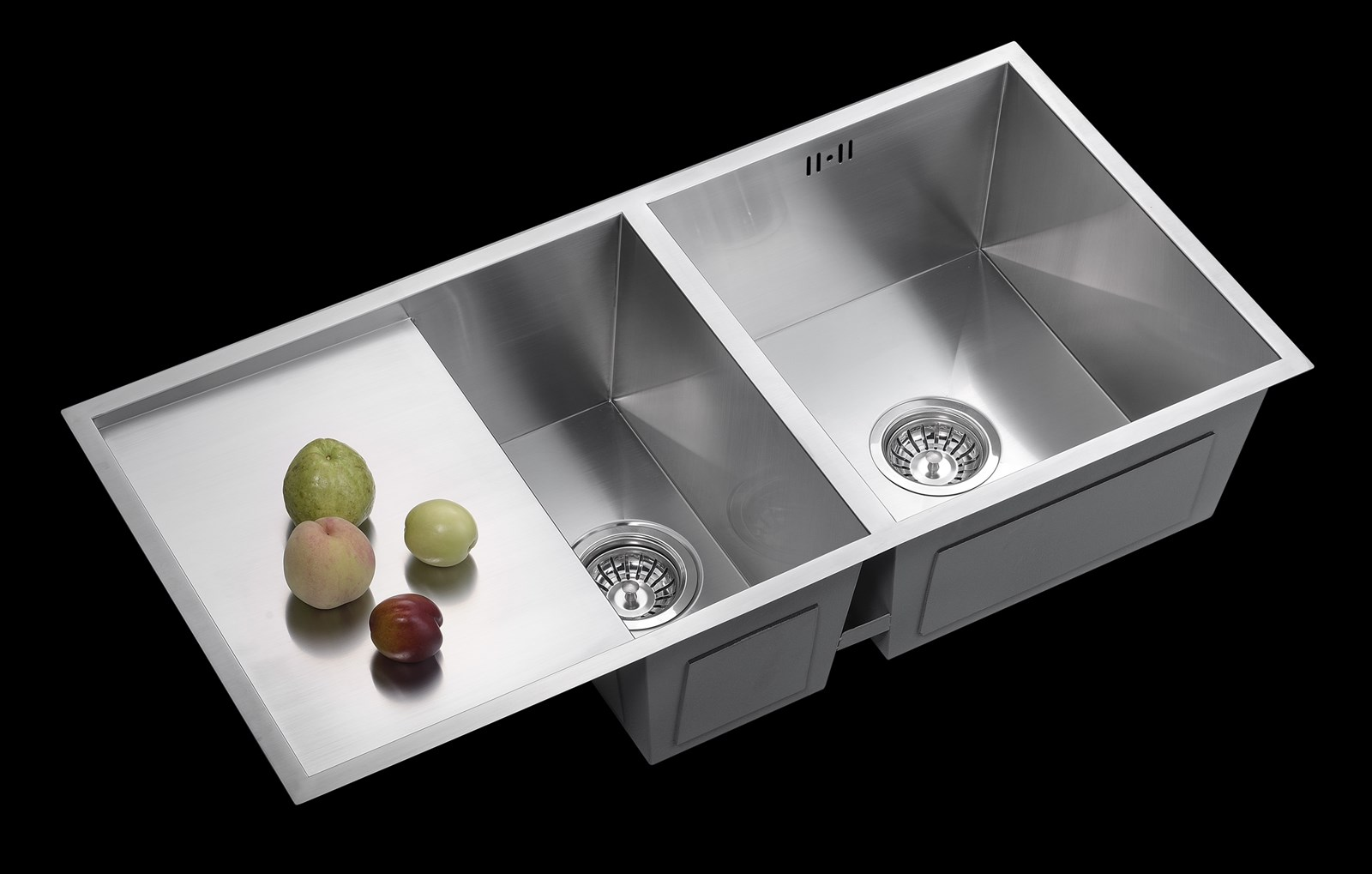 201 and 304 stainless steel raw material double bowl above counter polish without faucet hole lay one edge bulk package